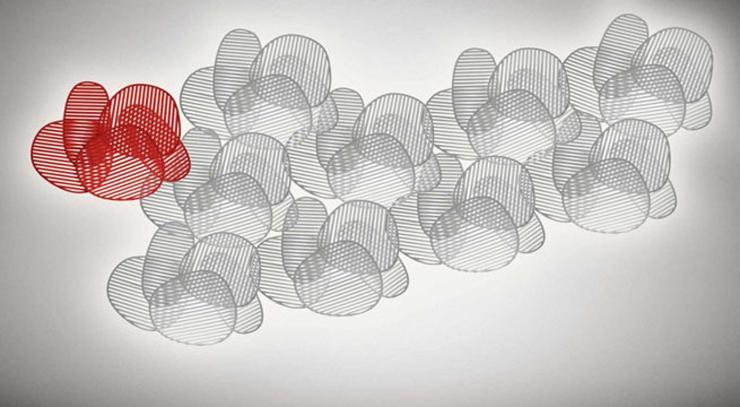 """""""La lámpara de pared o aplique Nuage, del diseñador italiano Philippe Nigro se inspira idealmente en el Optical Art, movimiento artístico de vanguardia de la década de los sesenta.""""  Philippe Nigro, Lámpara de pared Nuage Foto 212"""