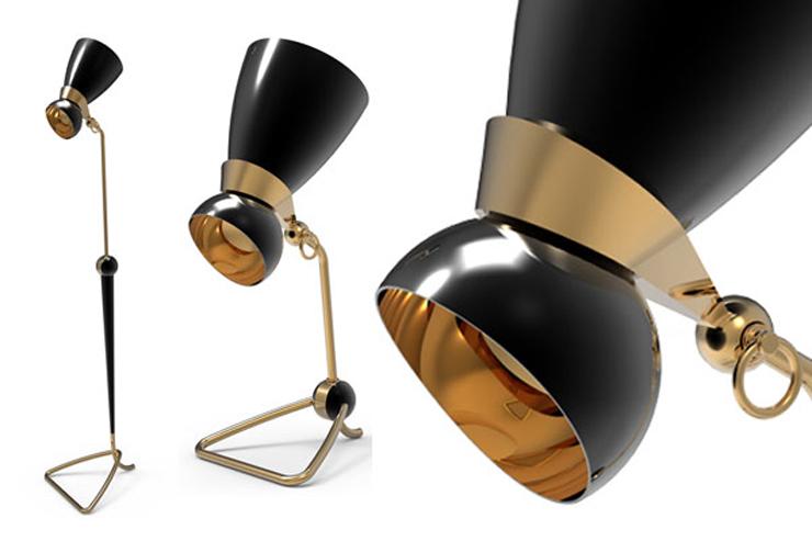 """""""La empresa portuguesa Delightfull Unique Lamps creó dos lámparas, una de pie, de 150 cm. de altura y otra más pequeña, de mesa, de 55 cm. Ambas en negro y dorado y con aire retro.""""  Lámpara Amy, estilo retro y vintage Foto 23"""