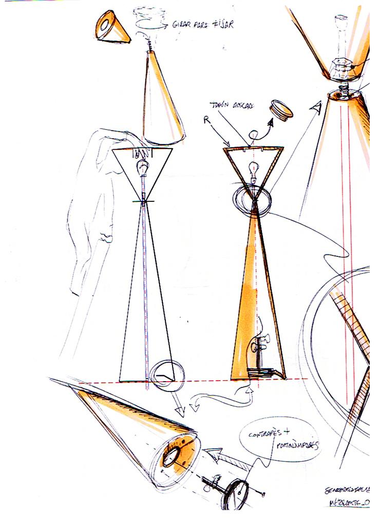 """""""Frida es una lámpara de pie de luz de ambiente, de interior o de exterior. Está compuesta por dos conos invertidos cuyos vértices se unen a 141 cm de la base."""" Metalarte, Lámpara Frida Foto 37"""