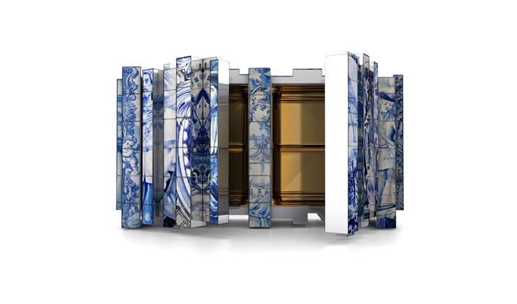 """""""Esta versión de aparador Heritage presenta un número de capas distintas, cada una con su propia historia. En las distintas capas se encuentran pinturas de diversos azulejos inspirados en diferentes períodos de la historia de Portugal.""""  Aparador alto de diseño original Foto 03"""