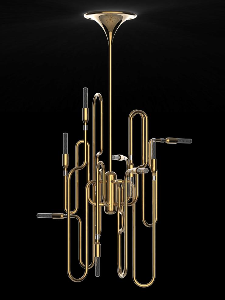"""""""La firma Delightfull viaja a los años cuarenta para recordar el virtuosismo del trompetista de jazz Clark Terry para presentar esta lámpara de suspensión, la lámpara Clark.""""  Clark, Iluminar con Jazz Foto 3"""