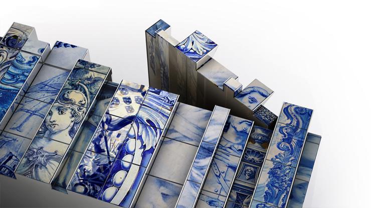 """""""Esta versión de aparador Heritage presenta un número de capas distintas, cada una con su propia historia. En las distintas capas se encuentran pinturas de diversos azulejos inspirados en diferentes períodos de la historia de Portugal.""""  Aparador alto de diseño original Foto 417"""