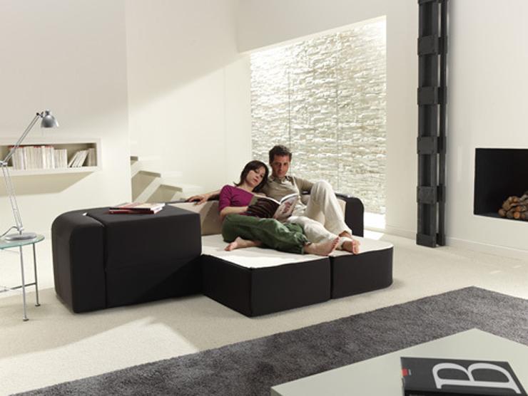 """Este sofá bautizado como Café & Leche, no es más que otra magnífica idea para minis apartamentos.""  Sofá convertible ""Café y Leche"" Foto 17"