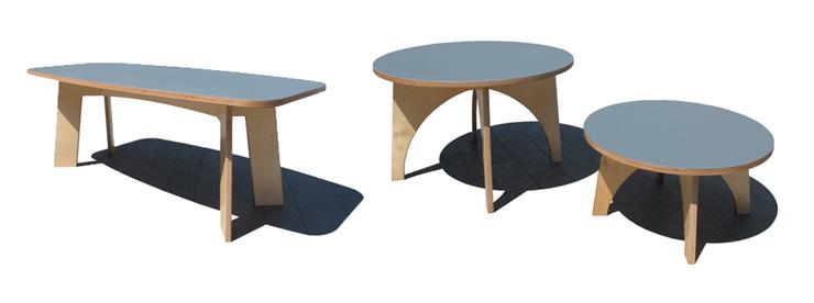 """""""Estas mesas, de madera y sobre con acabado de linóleo, son piezas versátiles y funcionales Se adaptan a cualquier uso dentro de la vivienda.""""  Mesas de Linoleo Foto 310"""