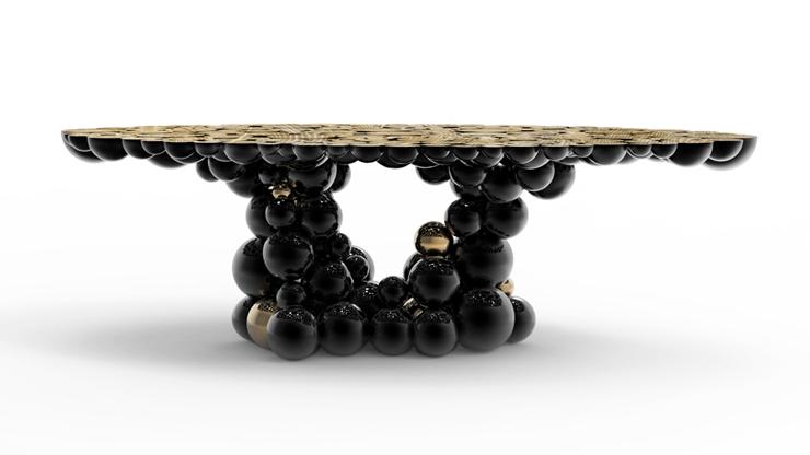 """""""Una mesa de comedor inspirada en la ley de la gravedad de Isaac Newton, compuesta de esferas y semi esferas brillantes unidas unas encima de otras.""""  Newton, Nueva Mesa de Comedor Foto 35"""