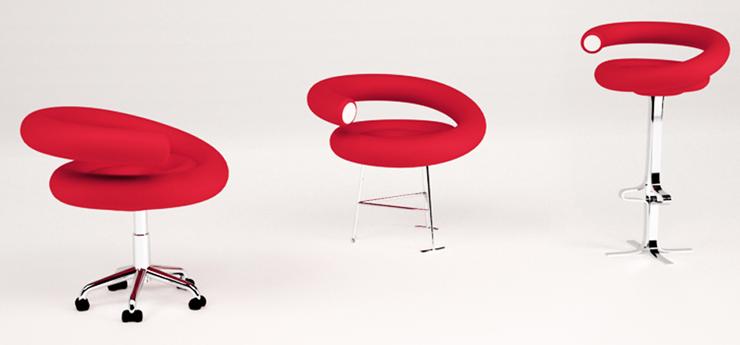 """""""Proyecto de diseño de mobiliario realizado para concurso internacional Propuesta y diseño de sistema de asientos para silla de oficinal, taburete y butaca.""""  La silla Regaliz Foto 36"""