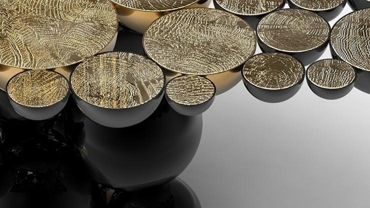 """""""Una mesa de comedor inspirada en la ley de la gravedad de Isaac Newton, compuesta de esferas y semi esferas brillantes unidas unas encima de otras.""""  Newton, Nueva Mesa de Comedor Foto 42"""