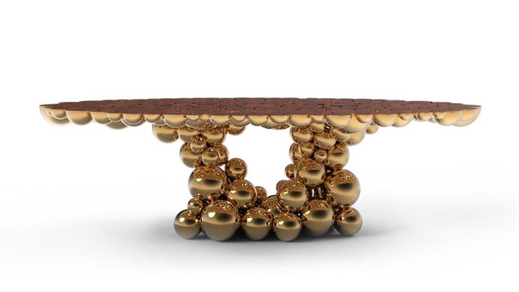 """""""Una mesa de comedor inspirada en la ley de la gravedad de Isaac Newton, compuesta de esferas y semi esferas brillantes unidas unas encima de otras.""""  Newton, Nueva Mesa de Comedor Foto 53"""