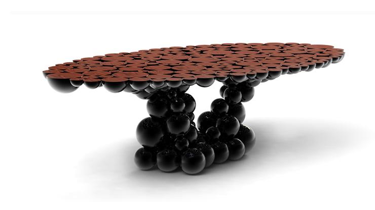 """""""Una mesa de comedor inspirada en la ley de la gravedad de Isaac Newton, compuesta de esferas y semi esferas brillantes unidas unas encima de otras.""""  Newton, Nueva Mesa de Comedor foto 7"""