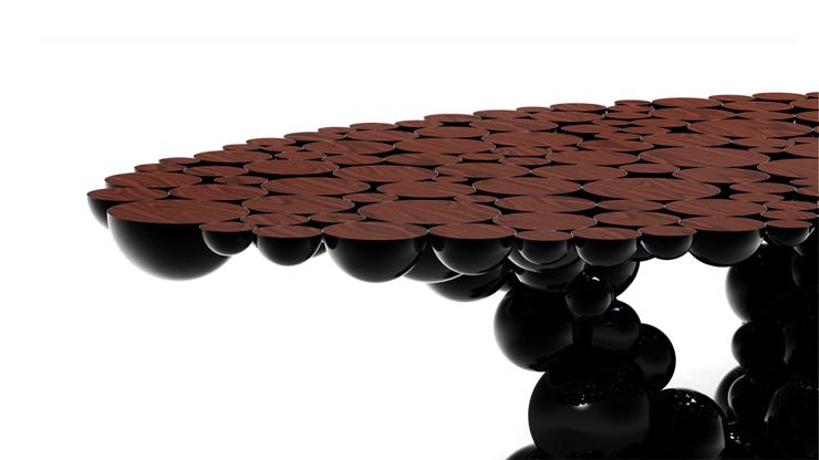 """""""Una mesa de comedor inspirada en la ley de la gravedad de Isaac Newton, compuesta de esferas y semi esferas brillantes unidas unas encima de otras.""""  Newton, Nueva Mesa de Comedor foto 8"""