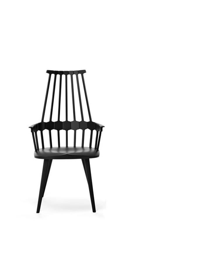 """""""Comback de Kartell es una silla fabricada en tecnopolímero termoplástico coloreado mediante moldeo que se caracteriza por su respaldo de tubos verticales dispuestos de forma radial reforzados con un borde con hexágonos."""" Silla Comback de Kartell Foto 110"""