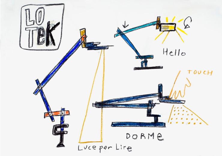 """""""La lámpara LoTek nace de la tradición, por eso es una lámpara evolucionada.""""  La lámpara LoTek 08 lotek esbozo color"""
