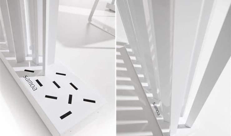 """""""El diseñador JM Ferrero, crea para Samoa Design esta colección de separadores de espacios metálicos, disponibles en varios colores y medidas. Una pieza de líneas suaves, que permite el paso de luz a través de ella.""""  Separadores Skyline Foto 2"""