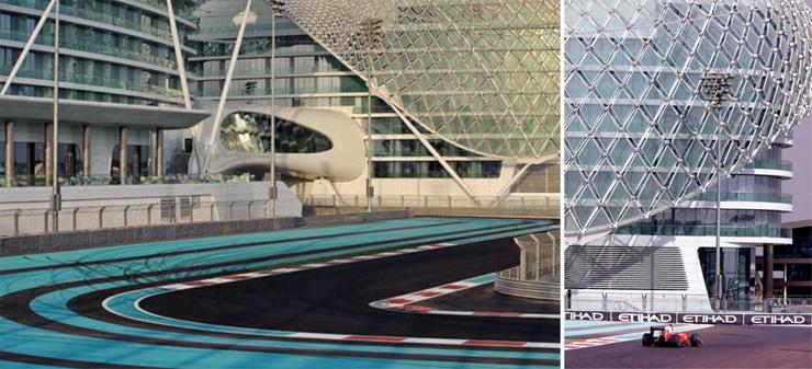 """""""Dhabi, fue diseñado para incorporar una estética asociada con las altas velocidades y el espectáculo por el estudio de Nueva York, Asymptote Architecture.""""  Hotel Yas Viceroy Abu Dhabi Viceroyhotel"""