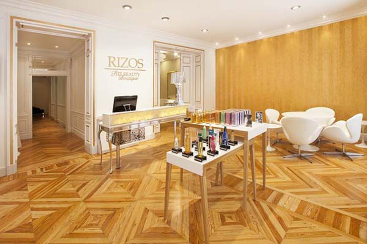 """""""La franquicia Rizos ha creado un nuevo concepto de salón: The Beauty Boutique. Un local, situado en pleno barrio de Salamanca de Madrid, de dos plantas con los mejores tratamientos para el cabello y la piel, cuidando al máximo hasta el mínimo detalle.""""  The Beauty Boutique velazquez 19"""