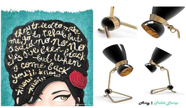 """""""Delightfull, la marca de iluminación inspirada en los años 40, 50, 60 y también en el blues decidió rendir homenaje a la inolvidable cantante y compositora británica.""""  Lámpara Amy, tributo a Amy Winehouse 120"""