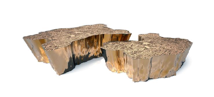 """""""Su original diseño mezcla la rusticidad de los troncos cortados, con los anillos que revelan la edad de los árboles, con el frío lujo del metal dorado.""""  Mesa Eden, rústica y lujosa 2"""