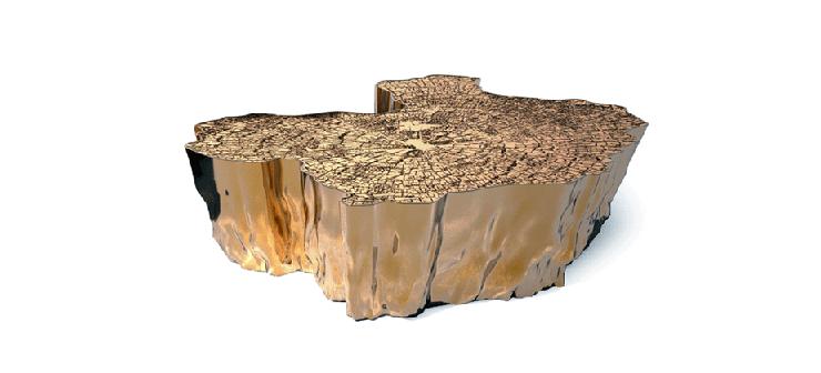 """""""Su original diseño mezcla la rusticidad de los troncos cortados, con los anillos que revelan la edad de los árboles, con el frío lujo del metal dorado.""""  Mesa Eden, rústica y lujosa 3"""
