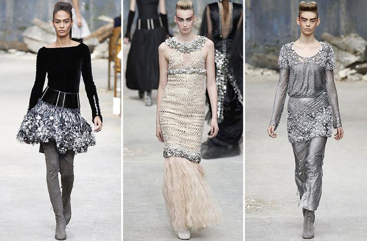 """""""Chanel quería impresionar y lo logró... como siempre. El Grand Palais de París fue la sede para mostrar prendas de organza, lentejuela y tul de seda con destellos en plata y cristal. Así es la mujer Chanel para el otoño-invierno 2013-2014.""""  Chanel celebra la Alta Costura 44"""