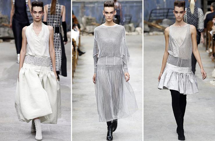 """""""Chanel quería impresionar y lo logró... como siempre. El Grand Palais de París fue la sede para mostrar prendas de organza, lentejuela y tul de seda con destellos en plata y cristal. Así es la mujer Chanel para el otoño-invierno 2013-2014.""""  Chanel celebra la Alta Costura 52"""