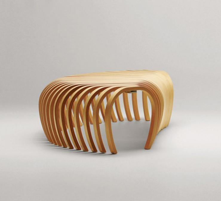 """""""La banca Ribs, creada por el diseñador australiano Stefan Lie del colectivo Design By Them.""""  Ideas para decorar: Banca Ribs de Stefan Lie – Design By Them 121"""
