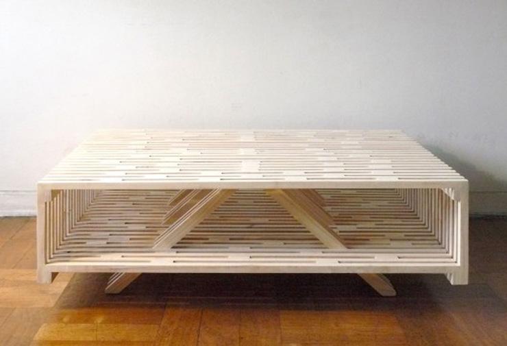 """""""El arquitecto chileno Sebastián Erazo ha creado esta mesa de centro, la cual está fabricada en madera de Pino.""""  Ideas para decorar: Mesa de Centro A de Sebastián Erazo 17"""