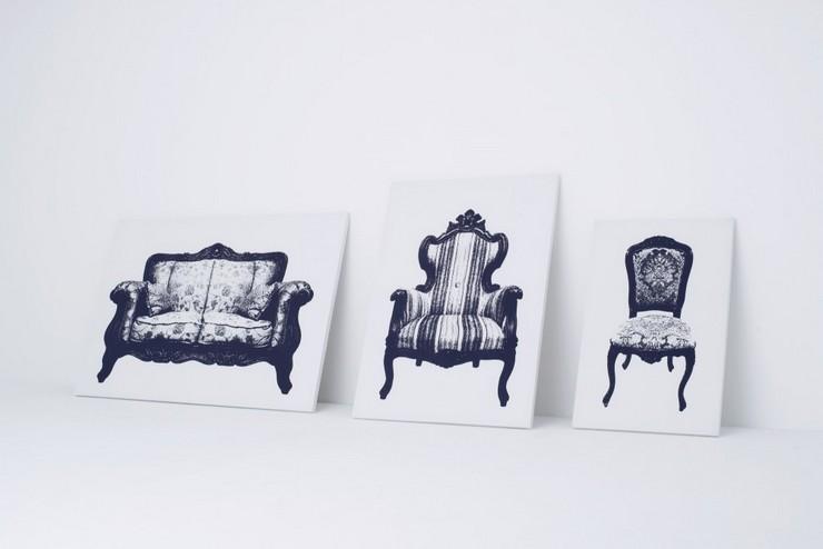 """""""Una silla en forma de lienzo con un dibujo de una silla. Creada por el estudio japonés YOY."""" Ideas para Decorar: Silla Canvas de YOY 116"""