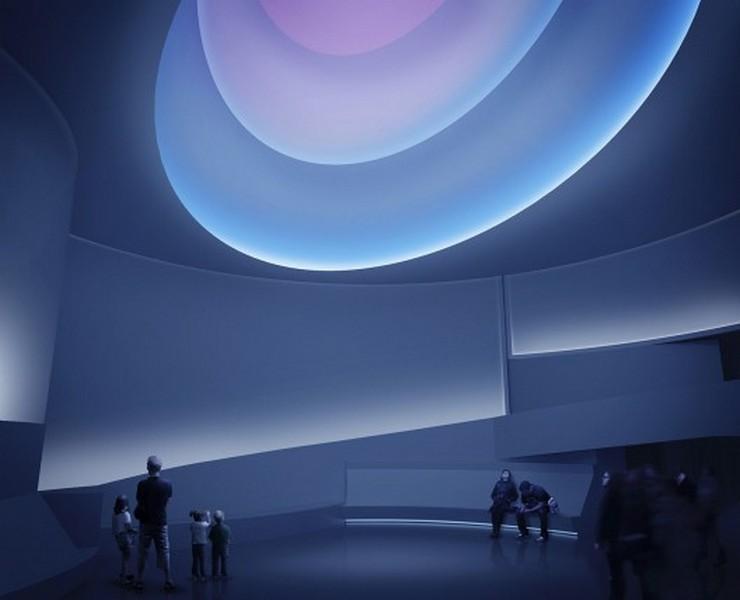 """""""Con su primera exposición en un Museo de Nueva York desde 1980, James Turrell transformará dramaticamente las sinuosas curvas del Museo Guggenheim.""""  Museo Guggenheim de Frank Lloyd Wright se transforma temporalmente bajo la intervención de Turrell 410"""