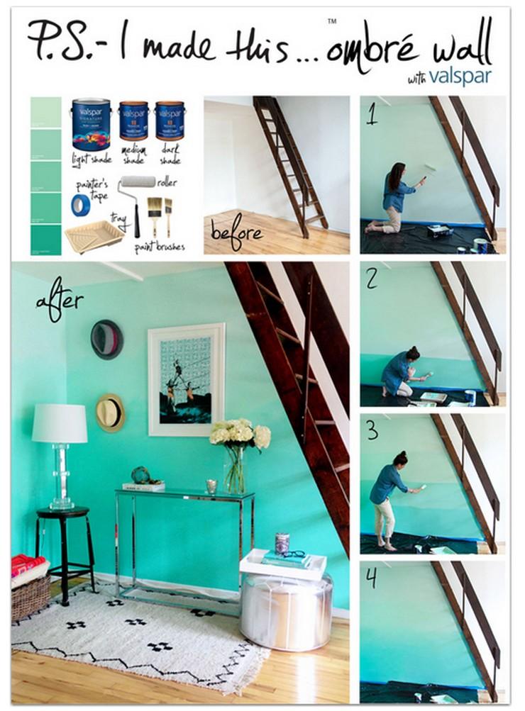 """""""Una nueva capa de pintura puede transformar cualquier habitación y más aún si se emplea una técnica tan novedosa como el efecto ombré""""  Pintar una Pared en Tonos Degradé 115"""