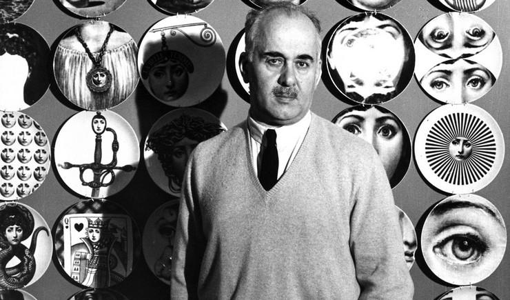 """""""Fornasetti creó más de 11.000 artículos, muchos de ellos con el rostro de una mujer, la soprano de ópera Lina Cavalieri, como un motivo""""  El diseñador Piero Fornasetti y la cara de la soprano Lina Cavalieri 72"""