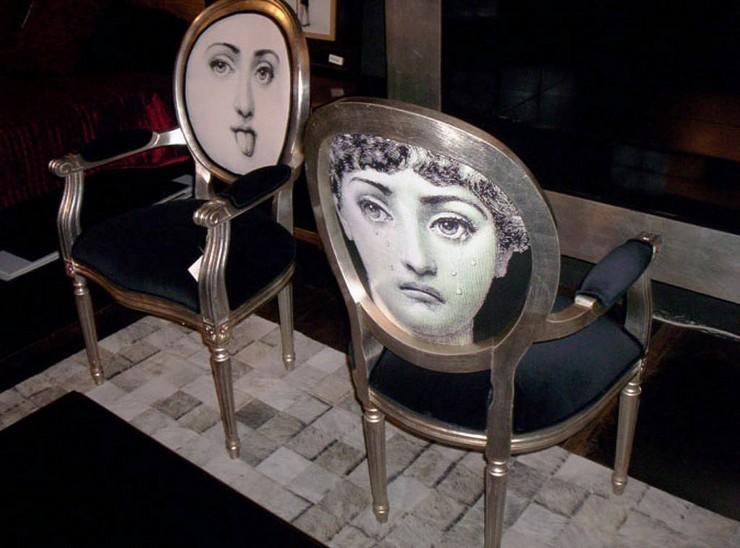 """""""Fornasetti creó más de 11.000 artículos, muchos de ellos con el rostro de una mujer, la soprano de ópera Lina Cavalieri, como un motivo""""  El diseñador Piero Fornasetti y la cara de la soprano Lina Cavalieri 83"""