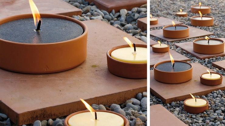 """""""La iluminación es una de las claves a tener en cuenta tanto en el diseño y decoración de interiores como de exteriores""""  Grandes ideas y alternativas de iluminación exterior Citronella terracotta candle2"""