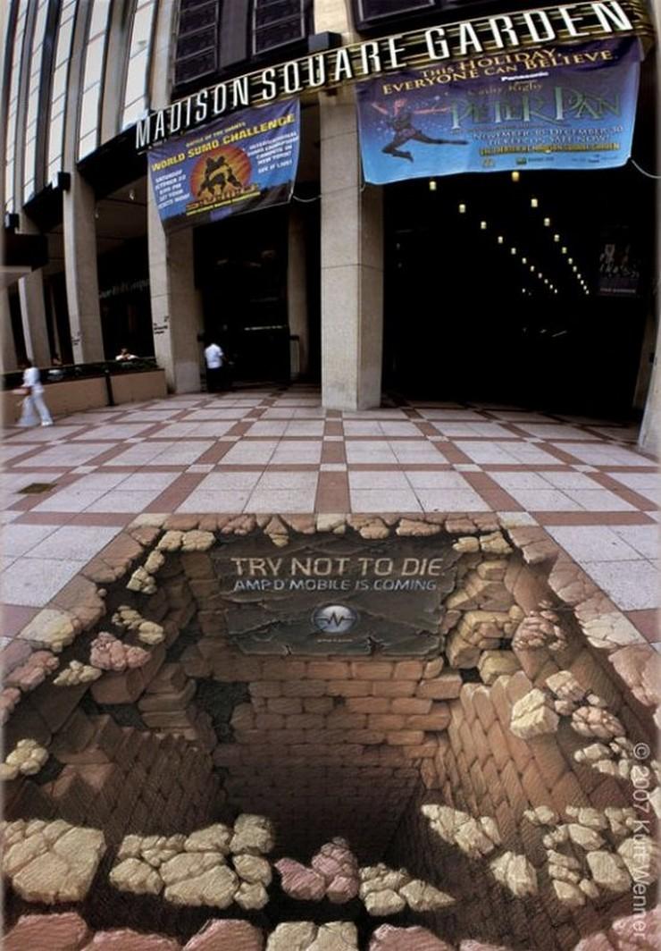 """""""¿Habéis visto alguna vez un dibujo 3D en el suelo? Hoy en el blog os hablo de ellos y de cómo se ha llevado al campo del interiorismo y la decoración."""" dibujos 3D Los 15 mejores dibujos 3D pintados en el suelo dibujo 3D en el suelo 9"""