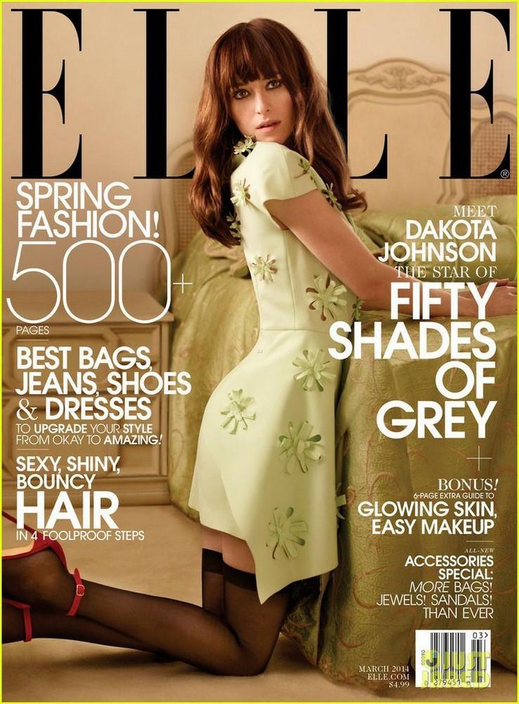 """""""Dakota Johnson, elegida para protagonizar 50 Sombras de Grey, y ahora para ser portada de Elle""""  Dakota Johnson, la prota de '50 Sombras de Grey', en Portada elle march 2014"""