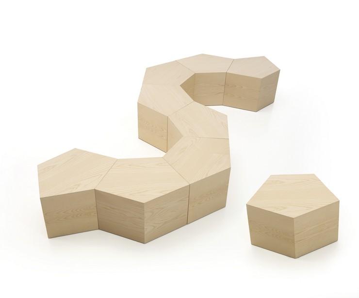 """""""Las dimensiones de la mesa Pent, diseñada por Dsignio para Beltà, están estudiadas para que también pueda emplearse como asiento, formando dinámicos conjuntos que se ajusten a distintos usos""""  Pent: la mesa puzzle diseñada por Dsignio para Beltà PENT BY DSIGNIO 3"""