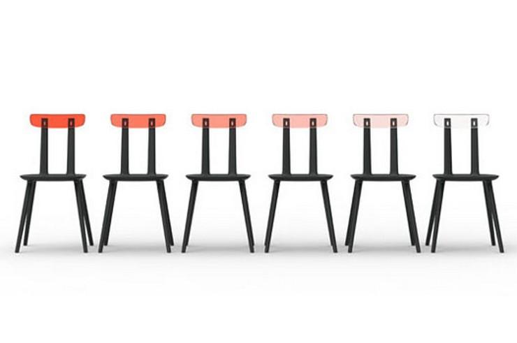 """""""Sillas Tabu - by Eugeni Quitllet for Alias Design. Hay cinco diferentes versiones / generaciones de la silla de diseño Tabu, desde la silla con respaldo tradicional a una que hace las veces de mesa auxiliar. La más llamativa, una versión con un respaldo de plexiglás"""""""