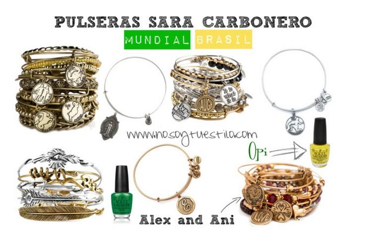 """""""Supersticiosa o no, Sara Carbonero parece ser amiga de los amuletos. Esta vez, la periodista deportiva ha elegido las pulseras de Alex and Ani para animar a 'La Roja' en el Mundial.""""  Las pulseras-amuleto de Sara Carbonero para el Mundial pulseras sara carbonero mundial brasil alex and ani"""