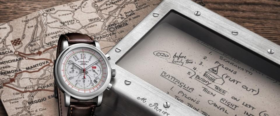 """""""Desde 1988 Chopard auspicia la mítica carrera italiana Mille Miglia, celebrando la edición 2014 del evento la relojería suiza ha diseñado un nuevo cronógrafo de edición limitada."""""""