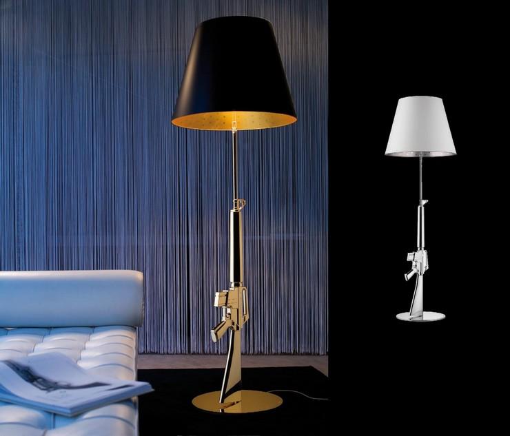 """Lámpara de pie de luz directa (para lectura) y luz de ambiente."" Gun Lounge Gun, lámpara de pie moderna de Philippe Starck Flos Lounge Gun de philippe starck"