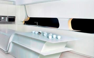 """""""Creada por el estudio de arquitectura A-cero, replantea la estética de este espacio, diseñando una cocina vanguardista y dando un paso más allá en el concepto de cocina moderna.""""  Cocina futurista diseñada por A-cero cocina exclusiva a cero 357x220"""
