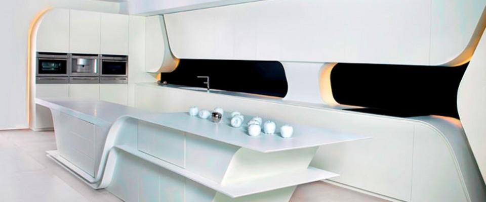 """""""Creada por el estudio de arquitectura A-cero, replantea la estética de este espacio, diseñando una cocina vanguardista y dando un paso más allá en el concepto de cocina moderna."""""""