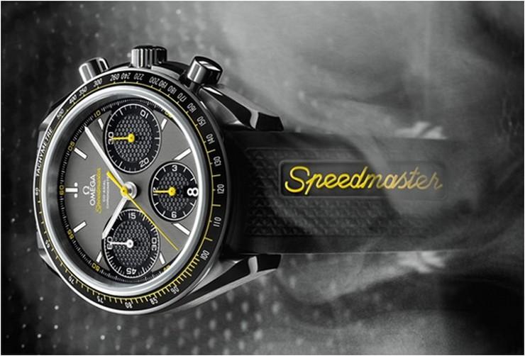 """""""El cronógrafo Omega Speedmaster Racing cuenta con una caja de acero de 40 mm, adornado con un anillo de aluminio negro mate en el bisel.""""  Omega Speedmaster Racing, un reloj de alto rendimiento relojes de lujo"""