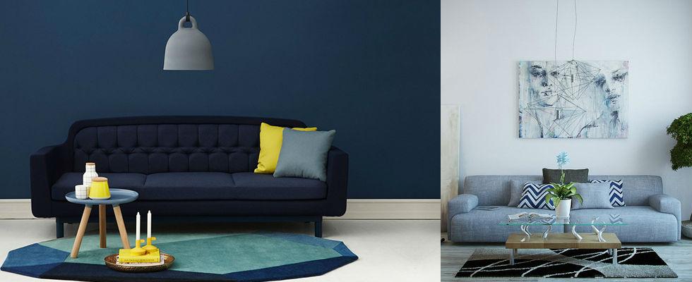 Salas de estar azules para 2016 for Para amueblar una sala de estar en longitud