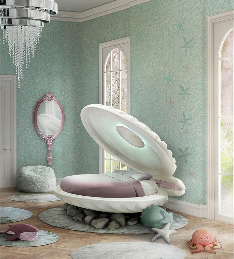mermaid bed Decorar el Dormitorio de Los Niños Inspirado en Disney mermaid bed ambience circu magical furniture 01