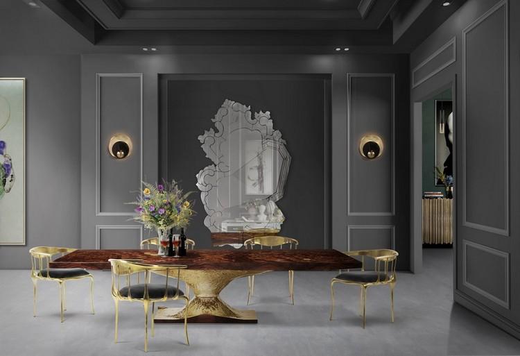 espejos modernos y de lujo1  Encántese Con Esta Preciosa Selección de Espejos Elegantes BL Dining Room mar17 3