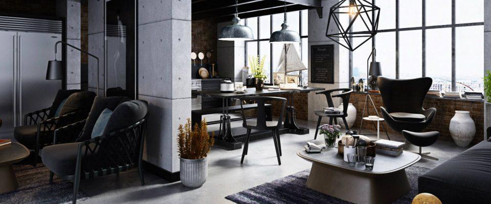 Ideas para Decorar: Diseño industrial de Lujo para una sala de estar